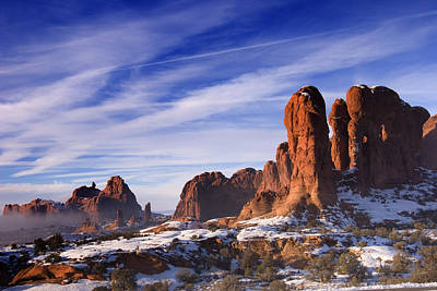 Slickrock Photograph - Mist Rising In Arches National Park by Utah Images