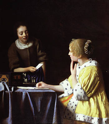Sit-ins Painting - Mistress And Maid by Jan Vermeer