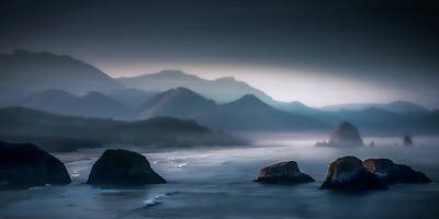 Photograph - Misty Among The Sea Stacks by Don Schwartz
