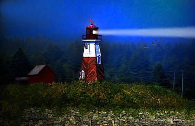 Canadian Geese Mixed Media - Misty Morning Lighthouse by Bill