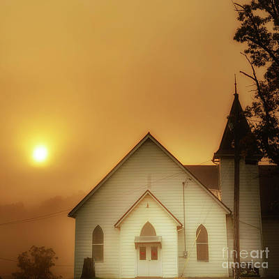 Roaring Red - Misty Mountain Sunrise and Church by Thomas R Fletcher