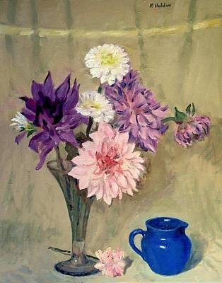 Painting - Mixed Dahlias And Blue Creamer by Robert Holden