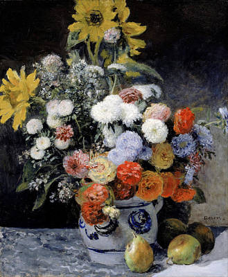 Cloth Painting - Mixed Flowers In An Earthenware Pot by Pierre-Auguste Renoir