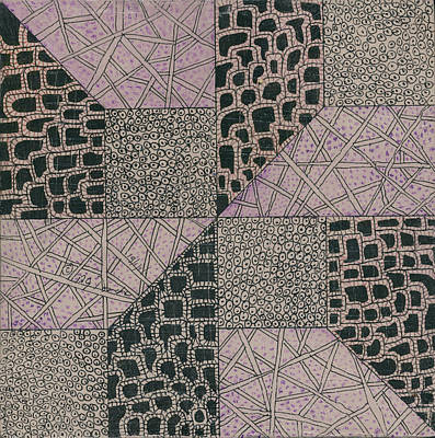 Block Quilts Drawing - Mixed Tangle 2 by Bev Donohoe