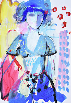 Painting - Model In Blue by Amara Dacer
