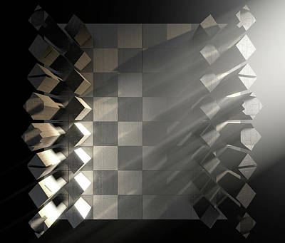Fight Digital Art - Modern Chess Set  by Allan Swart