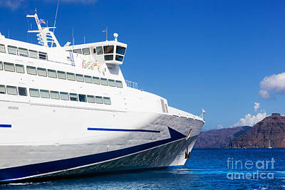 Moving Photograph - Modern Cruise Ship Sailing On Aegean Sea by Michal Bednarek