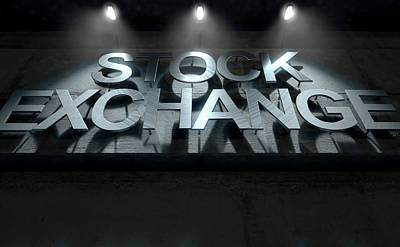 Laser Cut Digital Art - Modern Stock Exchange Signage by Allan Swart