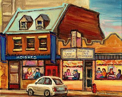 Montreal Storefronts Painting - Moishes Steakhouse On The Main by Carole Spandau