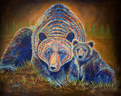 Contemporary And Colorful Abstracts Painting - Momma Bear by Teshia Art