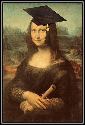 Parody Mixed Media - Mona Lisa  Graduation Day by Gravityx9  Designs