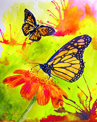 Painting - Monarch Butterflies Green by Laura Rispoli