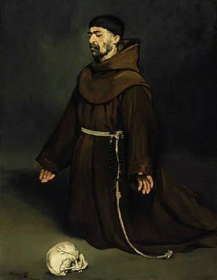 Kneeling Painting - Monk In Prayer by Edouard Manet