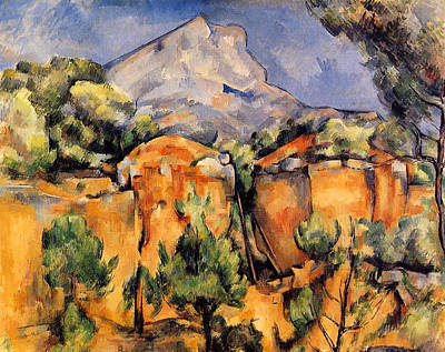 Post-impressionist Painting - Mont Sainte-victoire Seen From The Bibemus Quarry by Paul Cezanne