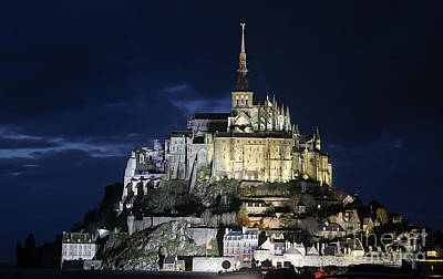 Mont St. Michel At Night Art Print by Joshua Francia