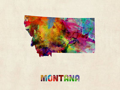 Digital Art - Montana Watercolor Map by Michael Tompsett