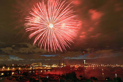 Photograph - Montreal Fireworks Celebration  by Pierre Leclerc Photography