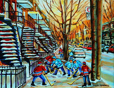 Street Hockey Painting - Montreal Hockey Paintings by Carole Spandau