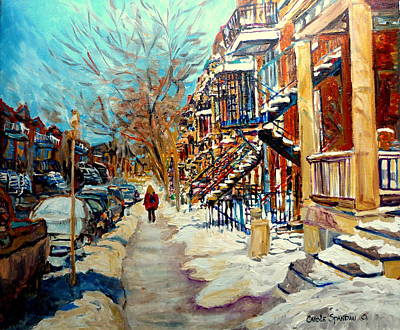 Montreal Street In Winter Art Print by Carole Spandau