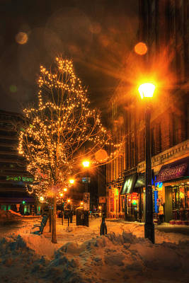 Winter Night Photograph - Monument Square - Portland Maine by Joann Vitali