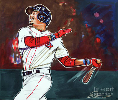Baseball Art Drawing - Mookie Betts by Dave Olsen