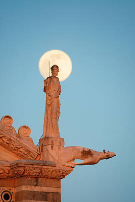 Photograph - Moon And Sculpture Pisa Italy by Songquan Deng