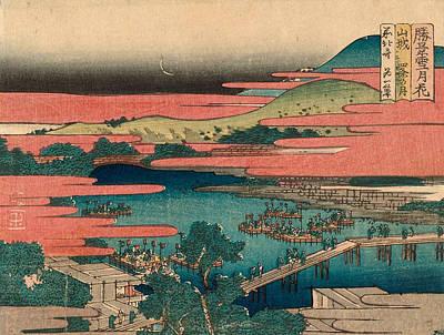 Reproduction Painting - Moon At Shijo In Yamashiro Province by Katsushika Hokusai