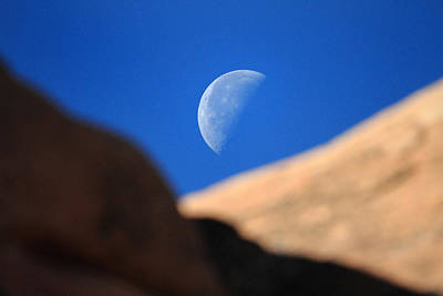 Moon In Arches National Park Art Print