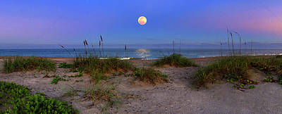 Photograph - Moon Over Beach Boardwalk And Pavilion In Hutchinson Island Florida by Justin Kelefas