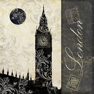 London Painting - Moon Over London by Mindy Sommers