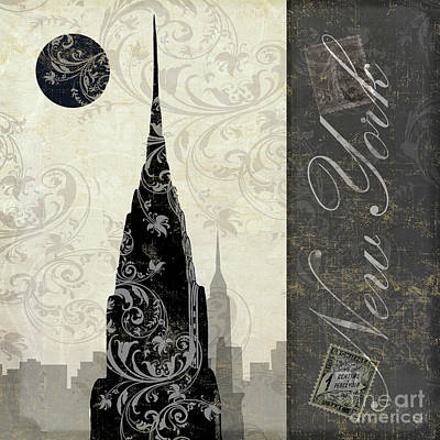 Paris Skyline Royalty-Free and Rights-Managed Images - Moon Over New York by Mindy Sommers