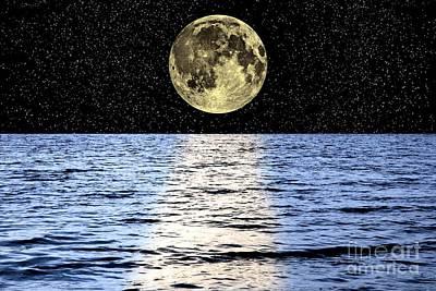 Moon Over The Sea, Composite Image Art Print
