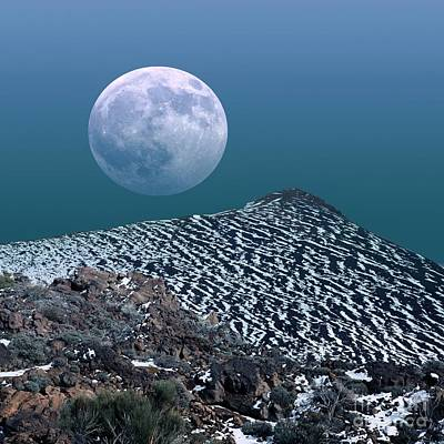 Snowy Night Photograph - Moon-rise Over A Volcano by Detlev van Ravenswaay