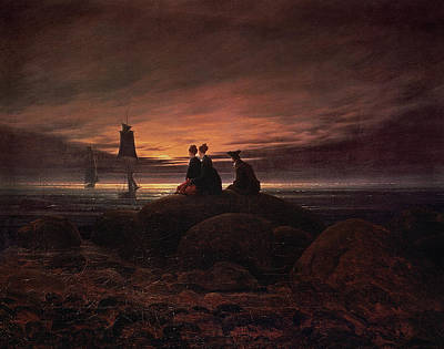 Caspar Painting - Moon Rising Over The Sea by Caspar David Friedrich