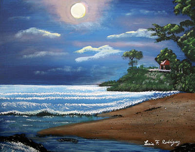 Moonlight In Rincon II Art Print by Luis F Rodriguez
