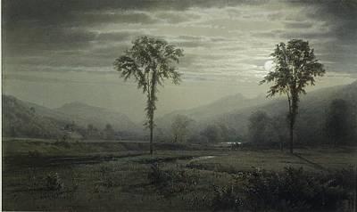 Moonlight On Mount Lafayette Art Print