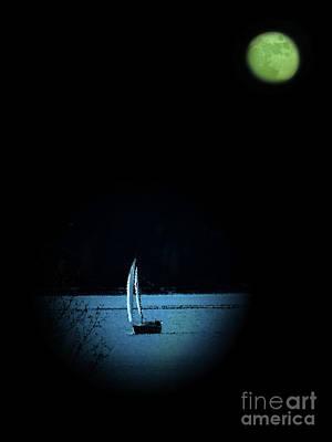 Glenmore Reservoir Photograph - Moonlight Sail by Al Bourassa
