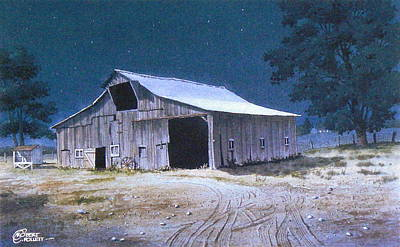 Painting - Moonlit Barn by C Robert Follett