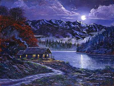 Mountain Snow Landscape Painting - Moonlit Cabin by David Lloyd Glover
