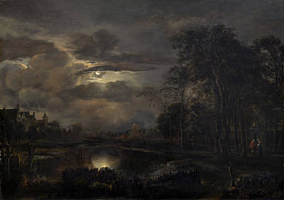 Painting - Moonlit Landscape With Bridge by Aert Van Der Neer