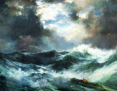 Moonlit Shipwreck At Sea Print by Thomas Moran
