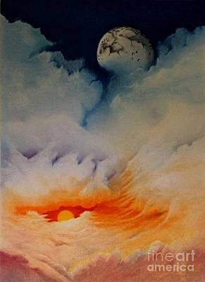 Sunset Abstract Drawing - Moonrise by David Neace
