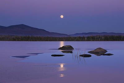 Photograph - Moonrise Over Cherry Pond by Chris Whiton