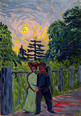Out Of The Woods Painting - Moonrise, Soldier And Maiden by Ernst Ludwig Kirchner