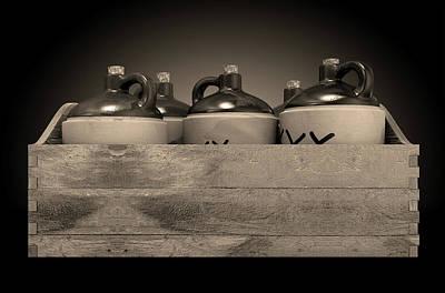 Moonshine In Wooden Crate Art Print