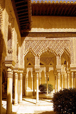 Moorish Architecture In The Nasrid Palaces At The Alhambra Granada Art Print by Mal Bray