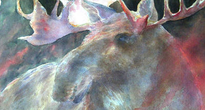 Wall Art - Painting - Moose Crossing by Beverly Berwick