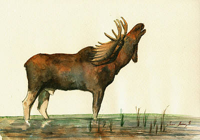 Bull Art Wall Art - Painting - Moose Watercolor Painting. by Juan  Bosco