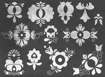 Bohemia Digital Art - Moravian Folk Ornaments On Chalkboard by Miroslav Nemecek