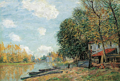 Cloudy Painting - Moret, The Banks Of The River Loing by Alfred Sisley